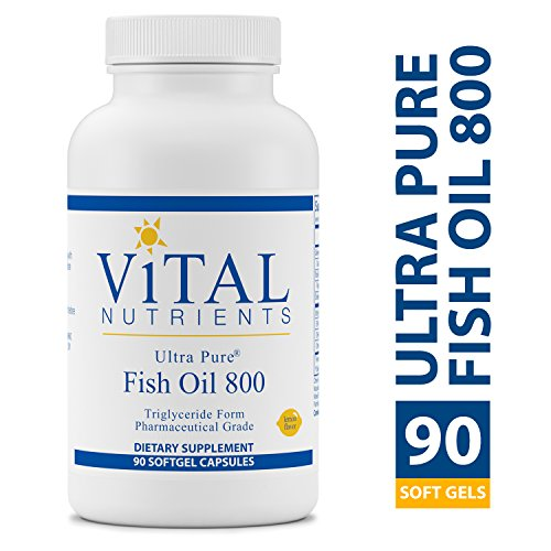 Vital Nutrients - Ultra Pure Fish Oil 800 Triglyceride Form (Pharmaceutical Grade) - Hi-Potency Wild Caught Deep Sea Fish Oil, Cardiovascular Support, Natural Lemon Flavor - 90 Softgels per Bottle