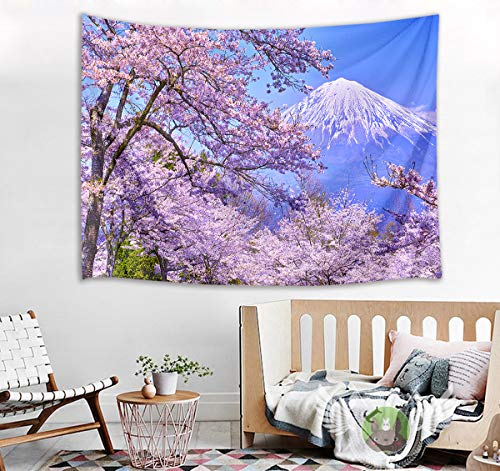 HVEST Cherry Blossom Tapestry Mount Fuji with Pink Sakura Flowers Wall Hanging Blanket Spring Scenery Tapestries for Bedroom Living Room Dorm Decor,60Wx40H ()