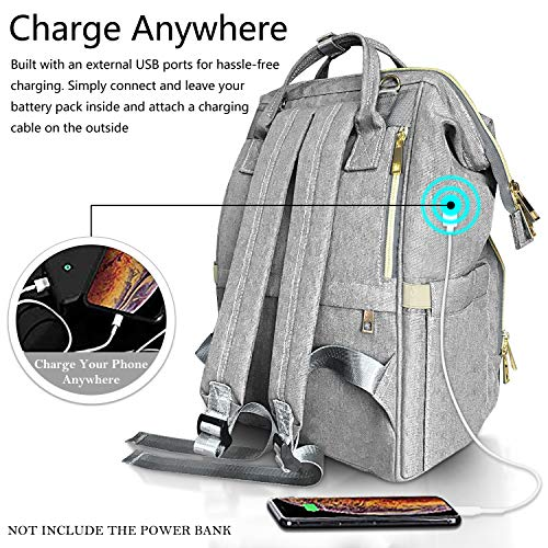 Baby Changing Bag HowiseAcc Nappy Diaper Backpack with USB Charging Port Come