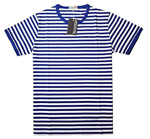 Men's Short Sleeve Crew Neck Cotton Stripe Tee Shirt,Blue,Medium / label XL - Breton Stripe