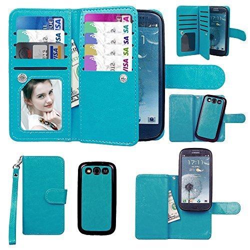 Galaxy S3 Case, xhorizon TM Premium Leather Folio Case Fashion Wristlet Purse Soft Flip Multiple Card Slots Case Cover ZA5 for Samsung Galaxy S3 - Blue