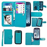 Samsung Galaxy S3 Case, xhorizon TM SR Premium Leather Folio Case [Wallet Function] [Magnetic Detachable] Fashion Wristlet Lanyard Hand Strap Purse Soft Flip Book Style Multiple Card Slots Cash Compartment Pocket with Magnetic Closure Case Cover Skin for Samsung Galaxy S3 (I9300)