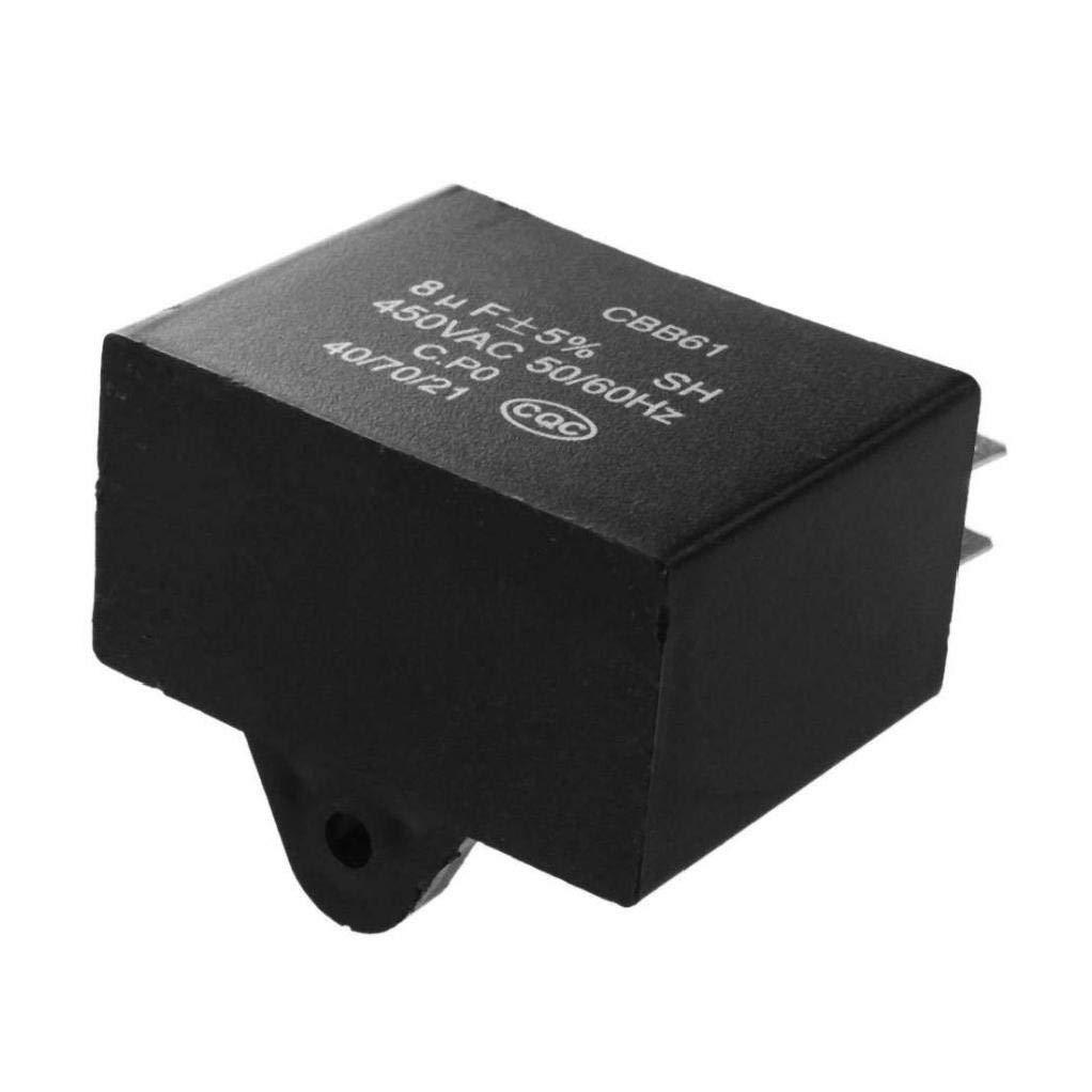 Color Black VlugTXcJ Mini CBB61 Ceiling Fan Capacitor Professional Fan Motor Run Capacitor 450VAC 8uF 4 Terminals