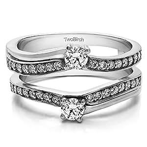 Amazon.com: 0.66 ct. Diamonds Two Stone Wedding Ring Guard