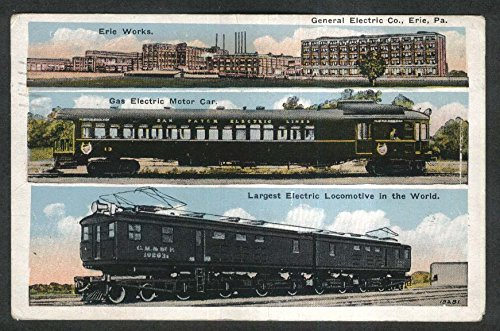 General Electric Co Erie PA Gas Electric Motor Car Locomotive postcard - Locomotives General Motors