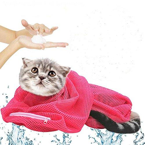 Cat Bath Bag - Multifunctional Cat Wash Bag - Pet Cat Multi-function Grooming Bags Nail Cutting Bath Protect Bags Pick Ear Blowing Hair Beauty Bag - Yellow (Pet Bath Bag)
