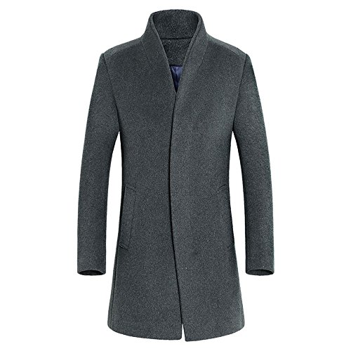 DAVID.ANN Men's Wool French Coat Slim Fit Long Jacket Single Breasted Overcoat,Grey,Medium