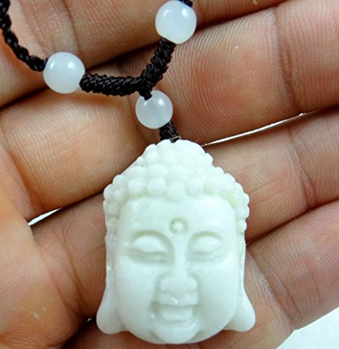 - 100% Chinese jade hand-carved the statue Buddha head PENDANT necklace