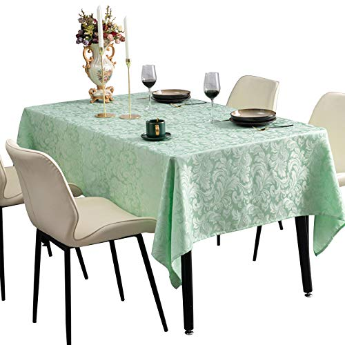 Lipo Tablecloths Jacquard Rectangle Damask Pattern Table Cloth Heatproof Waterproof and Wrinkle Free Washable Table Cover Protector for Banquet, Festival, 52×70 Inch, Green