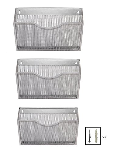 EasyPAG Mesh Collection Wall File Pocket Holder Organizer for Office - 3 Pack - Silver