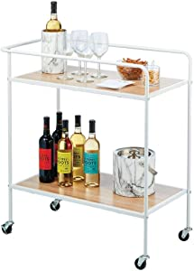 mDesign Portable Rolling Bar Cart Organizer Trolley with Easy-Glide Wheels and 2 Multipurpose Heavy-Duty Shelves - Wide Shelf - Durable Steel Frame - Matte White/Wood