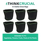 """6PK 5 Gallon Fruit & Vegetables Reusable Grow Bag, 11"""" tall & 12.5"""" soft-sided Container, Perfect Grow Pot for Flowers, Herbs, Tree Seedlings, Vegetables including Tomatoes and Potatoes, Fruits, Indoors or Outdoors, Comparable to Smart Pots 5 Gallon Grow Bags"""