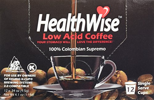 HealthWise Low Acid Coffee for Keurig K-Cup Brewers, 100% Colombian Supremo, 12 Count