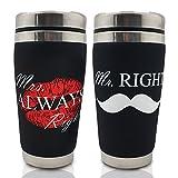 Mugzie Couple Coffee Mug Set-Mr Mrs Wetsuite Cover-Bridal Shower Wedding Newly Weds Engaged Bride and Groom Husband and Wife Gifts Set 16 oz
