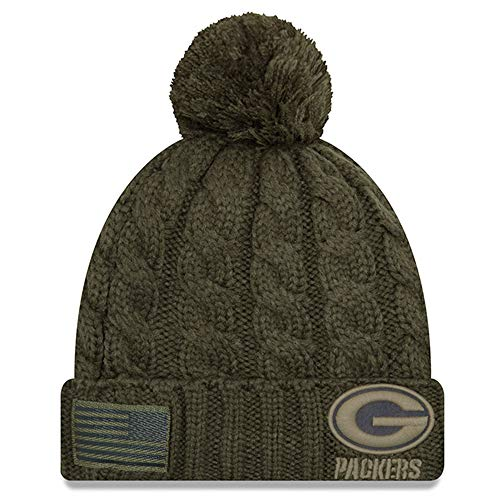 New Era Women 2018 Salute to Service Sideline Cuffed Knit Hat – Olive (Green Bay ()