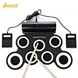 #1: Electronic Drum Set, iWord Hand Roll Up Drum Pad Portable Rechargeable Drum Kit with Headphone Jack Built-in Dual Speaker Drum Pedals Drum Sticks 10 Hours Playtime