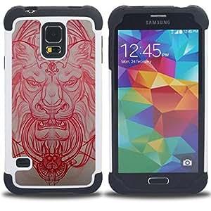 - lion medieval architecture carving red - - Doble capa caja de la armadura Defender FOR Samsung Galaxy S5 I9600 G9009 G9008V RetroCandy