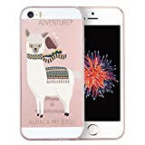 iPhone SE Case Clear, Unov iPhone 5s Case Clear with Design Embossed Pattern TPU Soft Bumper Shock Absorption Slim Protective Cover for Apple iPhone SE/5s/5 (Alpaca Bags)