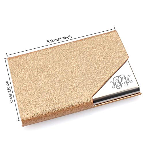- Personalized Gold Leatherette and Stainless Steel Personalized Business Card Case Holder Custom Engraved