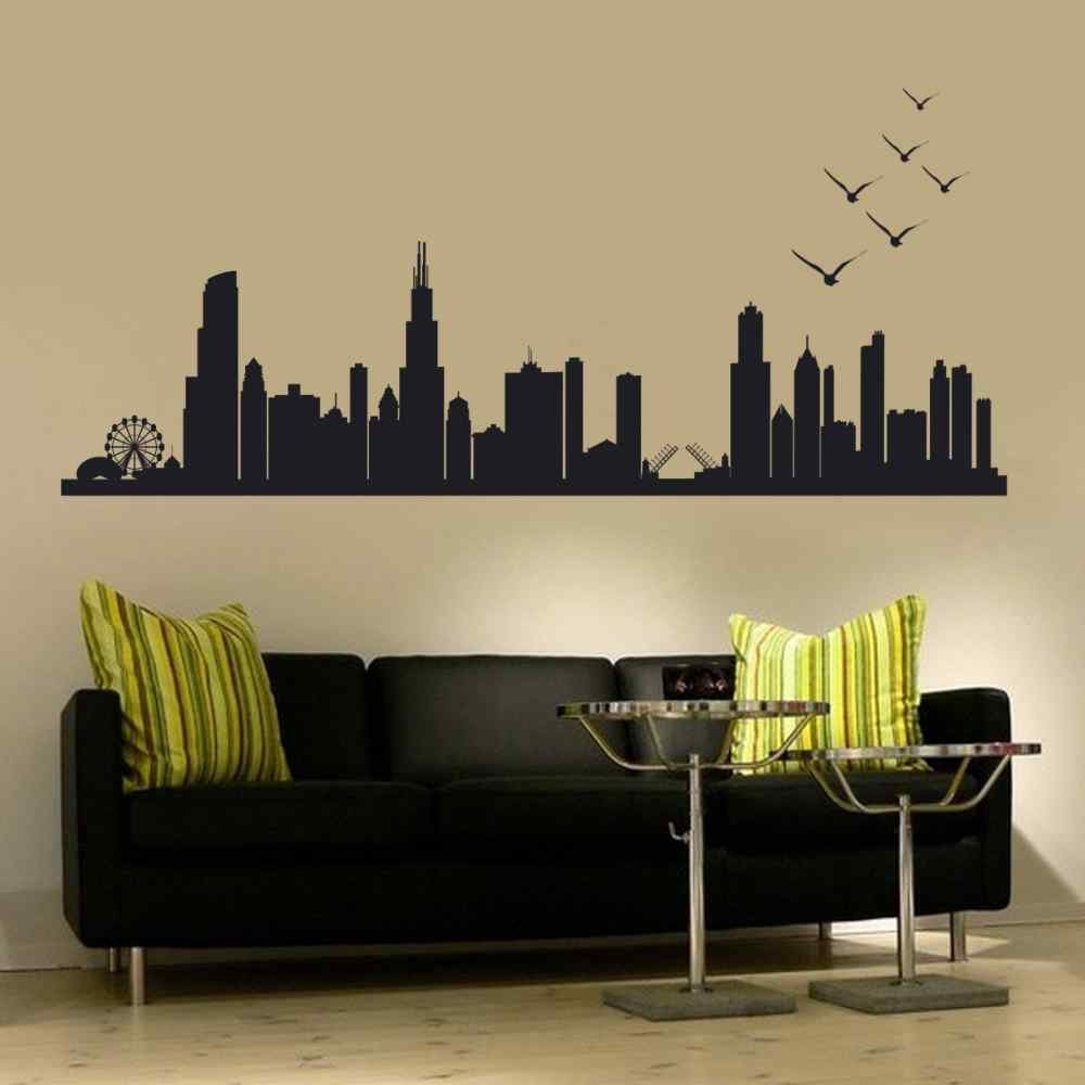 Amazon battoo chicago skyline silhouette wall decal custom amazon battoo chicago skyline silhouette wall decal custom vinyl art stickers30h x 86wwblack home kitchen amipublicfo Image collections