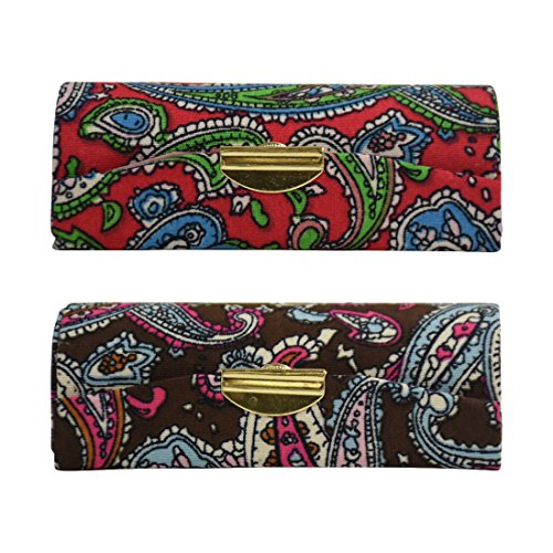 Lipstick Case Holder with Mirror for Ladies 2 pack - Brown Red Paisley