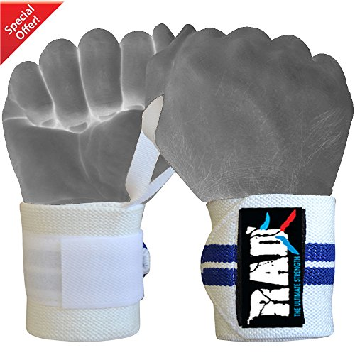 RAD Weight Lifting Training Wraps Wrist Support Gym Fitness Bandage Strap New (Blue / White, 12 Inch) -