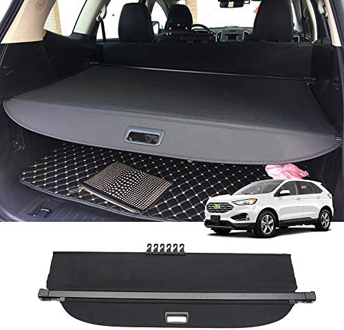Powerty Cargo Cover for Edge Rear Trunk Shade Retractable Trunk Shield Luggage Tonneau Security Cover for Ford Edge 2016 2017 2018 2019 2020 2021 Black No Gap