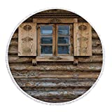 Thick Round Beach Towel Blanket,Shutters,Windows with Shutters Patterned on the Wall of the Old Wooden House Cottage Print,Brown Beige,Multi-Purpose Beach Throw