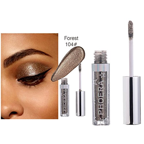 Eyeshadow,LtrottedJ 12 Color PHOERA Magnificent Metals Glitter and Glow Liquid Eyeshadow (Champagne Glow)