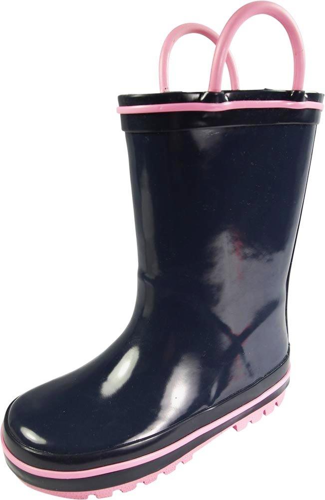NORTY Toddler Girls Waterproof Rainboot, Navy, Pink 39822-9MUSToddler