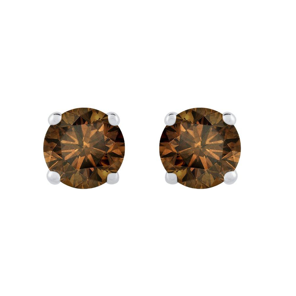 1//4 cttw KATARINA Cognac Diamond Earring Studs in 14K White Gold