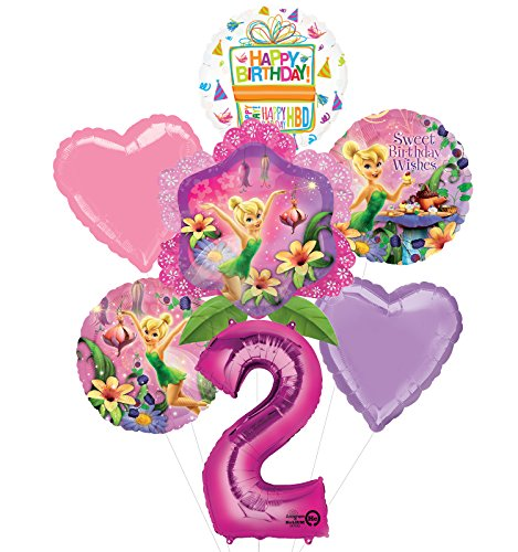 Tinkerbell 2nd Birthday Party Supplies and Balloon Bouquet Decorations -
