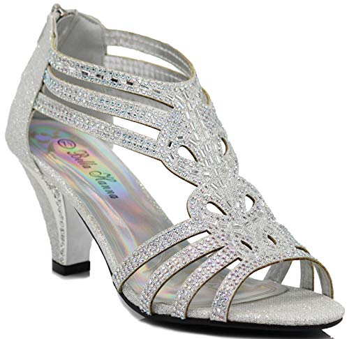Enzo Romeo Kinmi25N Womens Open Toe Mid Heel Wedding Rhinestone Gladiator Sandal Shoes (9 B(M) US, Silver)