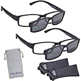 Marc De Rez Computer Reading Glasses With Clip On Sunglasses - 2 Pack - Anti Blue Light Prescription Readers, Magnetic Sun Shades and Pouch - UVC, UVB and UVA Protection - Black, 1.50