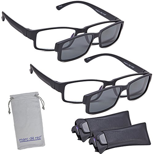 Marc De Rez Computer Reading Glasses With Clip On Sunglasses - 2 Pack - Anti Blue Light Prescription Readers, Magnetic Sun Shades and Pouch - UVC, UVB and UVA Protection - Black, 3.00 by Marc De Rez