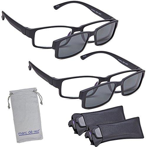 Marc De Rez Computer Reading Glasses With Clip On Sunglasses - 2 Pack - Anti Blue Light Prescription Readers, Magnetic Sun Shades and Pouch - UVC, UVB and UVA Protection - Black, 1.50 by Marc De Rez
