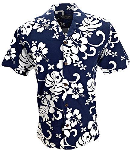 Favant Tropical Luau Beach Hibiscus All Over Floral Print Men's Hawaiian Aloha Shirt (Navy, X-Large)