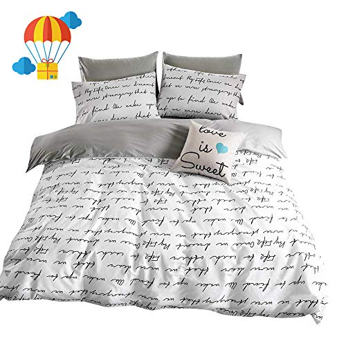 BuLuTu Love Letters printing Cotton Kids Duvet Cover Twin Set White Gray Premium advanced Teen Boys Girls Bedroom Bedding Sets Twin Comforter Cover Zipper Closure,Hotel Quality,NO Comforter Black Friday & Cyber Monday 2018