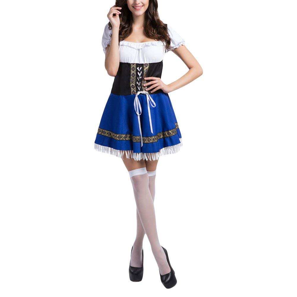 Slimate Women's Oktoberfest Costume Bavarian Beer Maid Dress Halloween Outfits,White,Tag 2XL=US L by Slimate (Image #3)