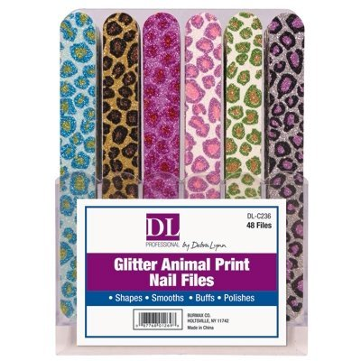 DL Professional Glitter Animal Print Nail Files (Pack of 48)