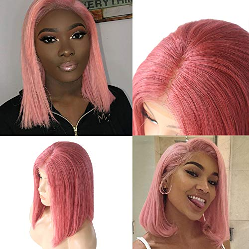 Silky Straight Lace Wig - Myfashionhair Short Cut Bob Wigs Silky Straight Pink Bob Wig with Lace 12 inch 180% Density Human Hair Short Wigs with 13x4 Swiss Lace and Adjustable Cap, Pre Plucked Human Hair Bob Lace Wigs (Pink)