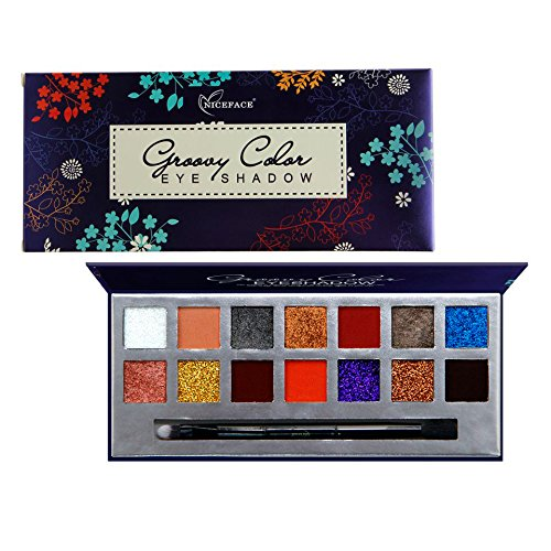 Matte and Glitter Eyeshadow Palette, Niceface 14 Bright Colo