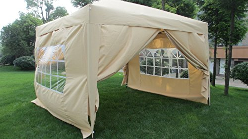 MCombo EZ Pop Up Wedding Party Tent Folding Gazebo Camping Canopy with Sides, 10′ x 10′, Beige