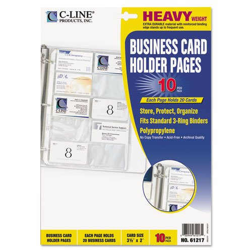 Index Card Binder Refill - C-Line® Business Card Binder Pages, 20 3 1/2 Cards per Page, Clear, 10 Pages per Pack