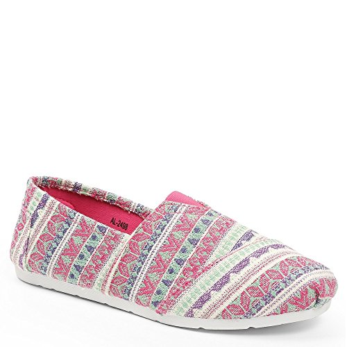 Ideal Shoes Slip-On Bedruckt Stil Espadrilles Kacie Fuchsia
