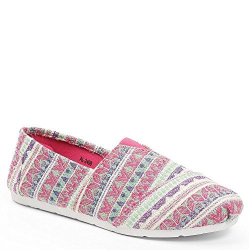Fucsia on espadrille stampa Rosa con Ideal Slip Shoes Kacie stile qw6wzHxC