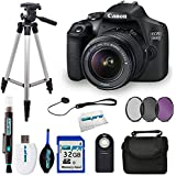 Canon EOS 1500D/Rebel T7 DSLR Camera with EF-S 18-55mm f/3.5-5.6 IS II Lens + Accessory Bundle for 1500D
