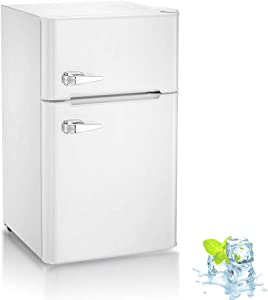 Kismile Double Door 3.2 Cu.ft Compact Refrigerator with Top Door Freezer,Freestanding mini Fridge with Adjustable Temperature,Upright Freezer for Apartment,Home,Office,Dorm or RV (White)