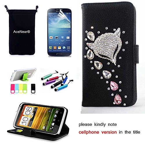 S3 CASE AceNear(TM) For Samsung Galaxy S3 i9300 Ultrathin Wallet Folio Stand Support Leather Case Series & Stand holder & Headset Dust Plug Capacitive Stylus & Screen Protector - crystal fox black leather