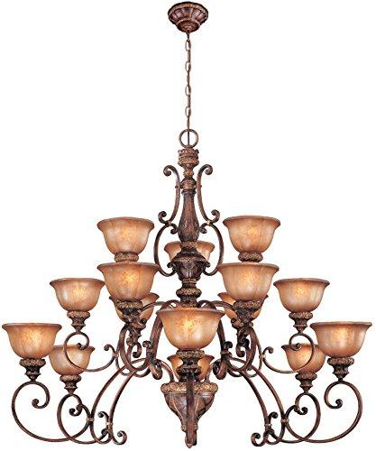 Minka Lavery Chandelier Pendant Lighting 1359-177, Illuminati Glass 3 Tier Dining Room, 15 Light, 2250 Watts, Bronze ()
